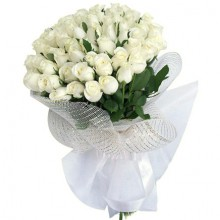 4 Dozen White Roses Bouquet